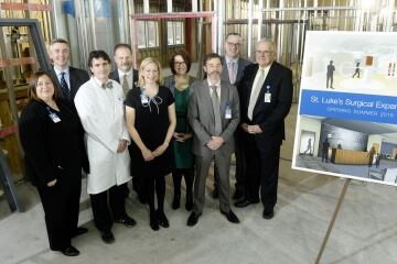 Catherine Carter Huber, St. Luke's Foundation executive director; Don Ness, Duluth mayor; Dr. Mark Eginton, St. Luke's vascular surgeon; Dr. Mark Monte, St. Luke's surgeon; Dr. Andrea Benson, St. Luke's anesthesiologist; Toni Schultz, St. Luke's director of surgical services; Dr. John Morrison, St. Luke's anesthesiologist; Dr. Scott Mikesell, St. Luke's cardiologist; John Strange, St. Luke's President and CEO